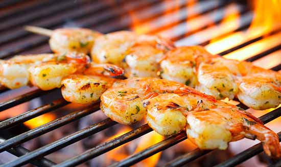 Shrimp Skewers on the grill