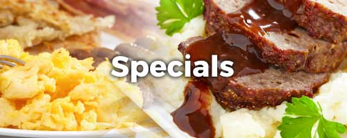 Various food with Specials as the word heading